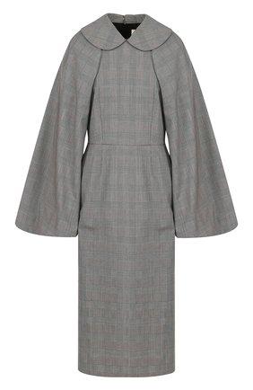 Приталенное шерстяное платье-миди | Фото №1