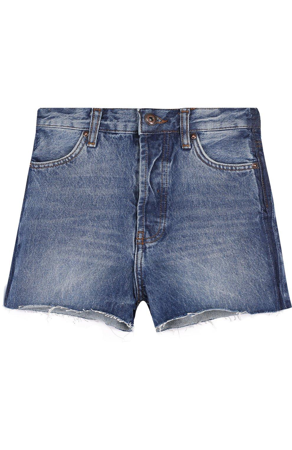 Детские джинсовые шорты с декоративными потертостями LES COYOTES DE PARIS синего цвета, арт. 310348 | Фото 1