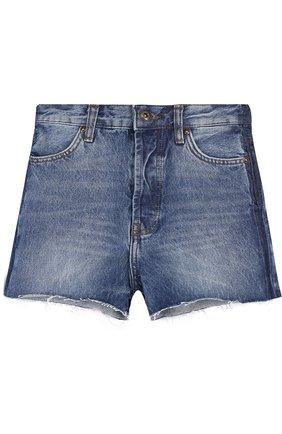 Джинсовые шорты с декоративными потертостями | Фото №1