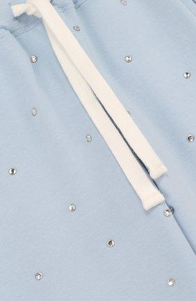 Детские хлопковые джоггеры со стразами NO. 21 голубого цвета, арт. 08 X/K107/3440/26-32 | Фото 3