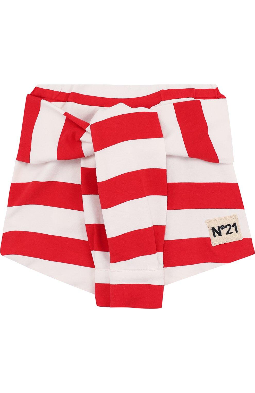 Детская хлопковая мини-юбка в полоску с декоративным поясом NO. 21 красного цвета, арт. 08 X/K302/3881/26-32   Фото 1
