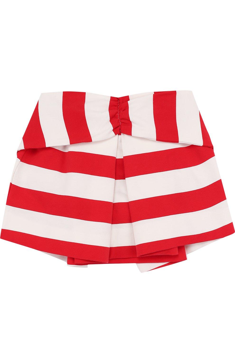 Детская хлопковая мини-юбка в полоску с декоративным поясом NO. 21 красного цвета, арт. 08 X/K302/3881/26-32   Фото 2