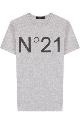 Хлопковая футболка с логотипом бренда   Фото №1