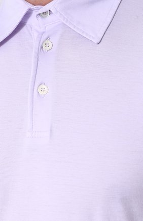 Мужское хлопковое поло с короткими рукавами ANDREA CAMPAGNA сиреневого цвета, арт. DRIM/S.L. | Фото 5
