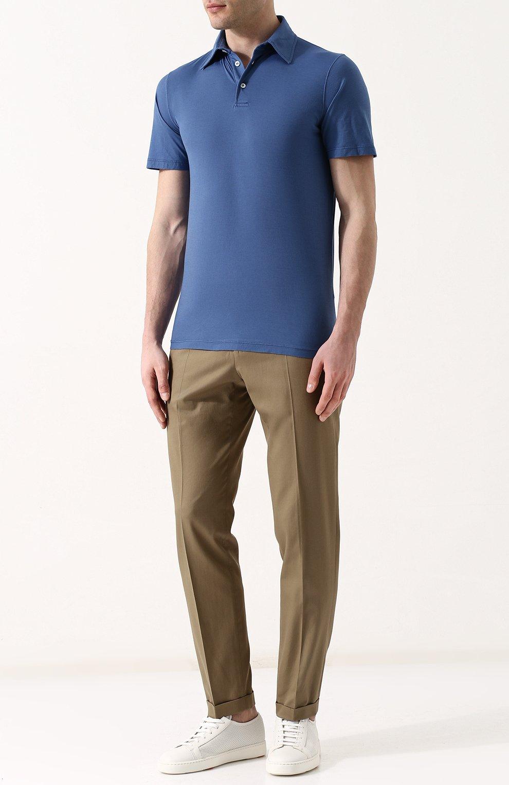 Мужское хлопковое поло с короткими рукавами ANDREA CAMPAGNA синего цвета, арт. DRIM/S.L. | Фото 2