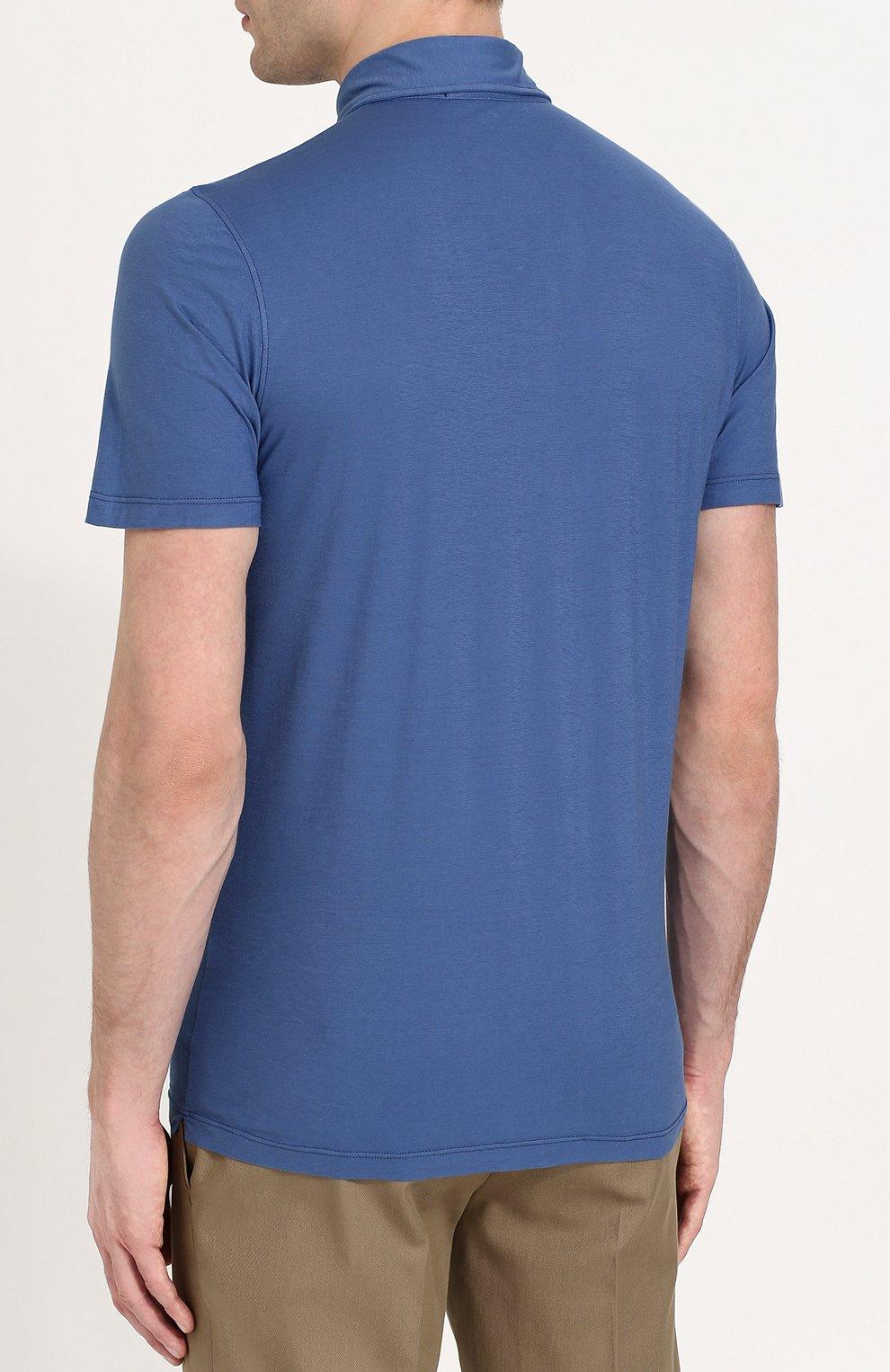 Мужское хлопковое поло с короткими рукавами ANDREA CAMPAGNA синего цвета, арт. DRIM/S.L. | Фото 4