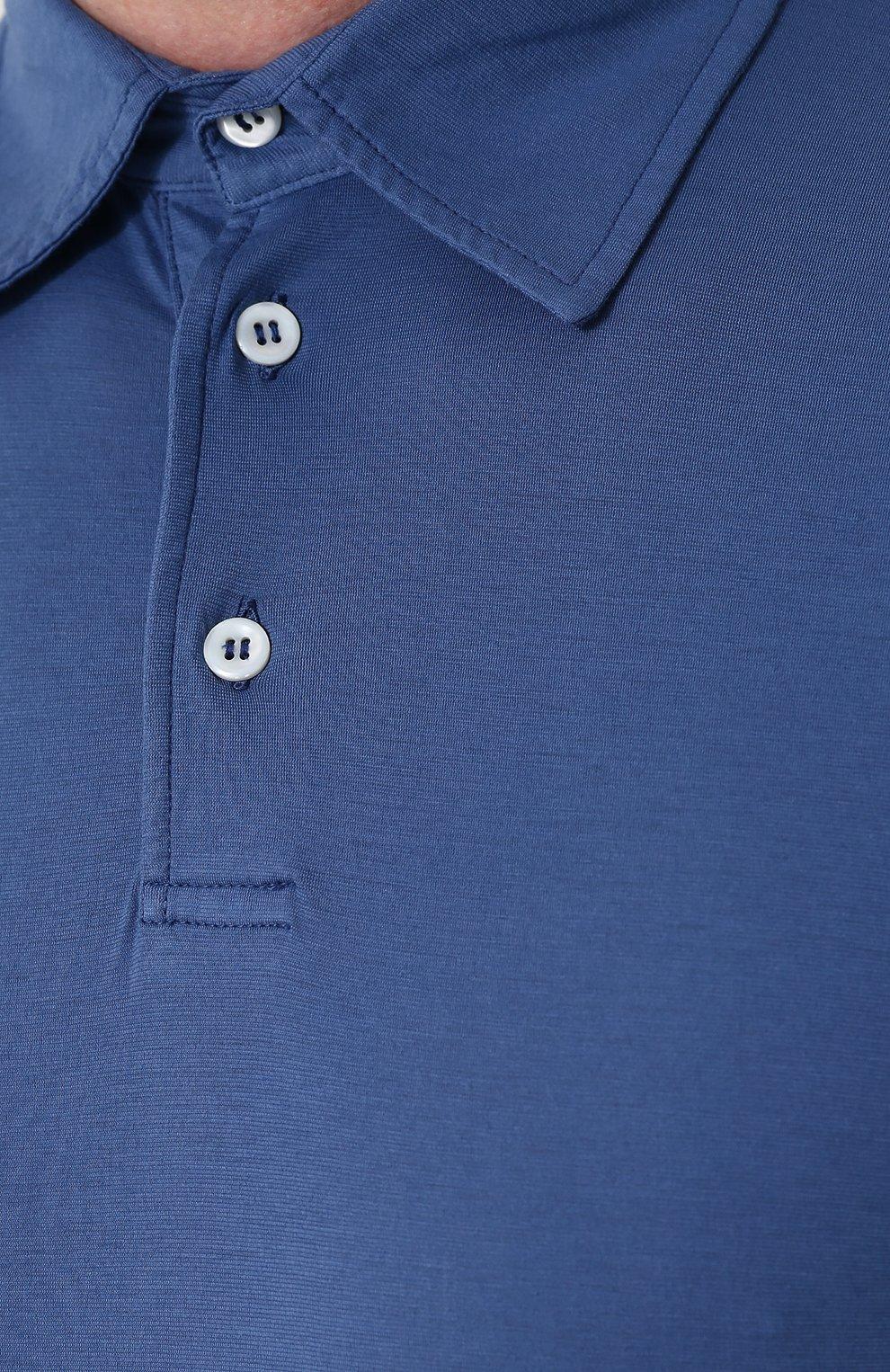 Мужское хлопковое поло с короткими рукавами ANDREA CAMPAGNA синего цвета, арт. DRIM/S.L. | Фото 5