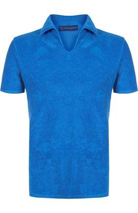 Мужское хлопковое поло с v-образным вырезом ANDREA CAMPAGNA голубого цвета, арт. EUR0/D | Фото 1