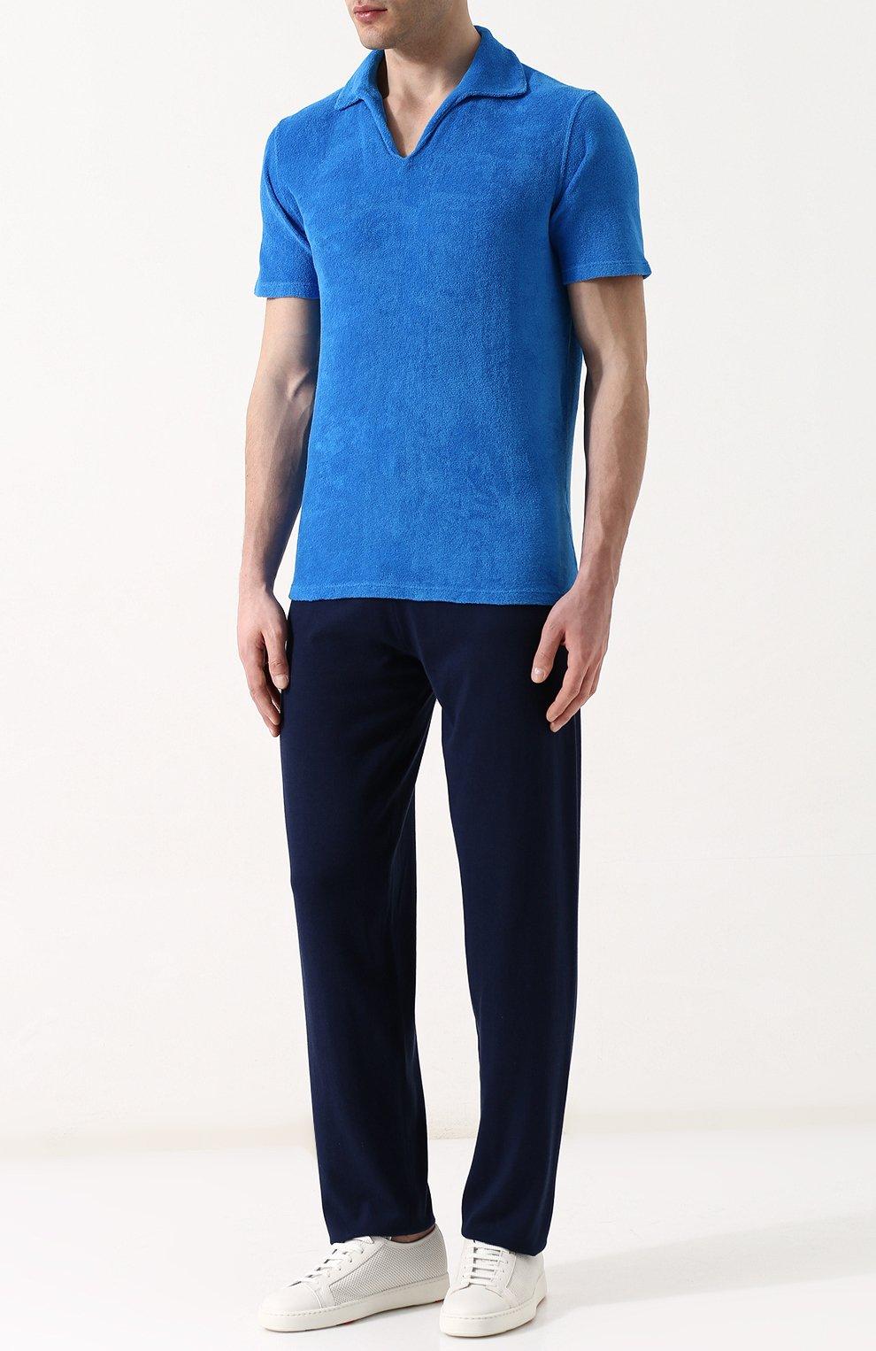 Мужское хлопковое поло с v-образным вырезом ANDREA CAMPAGNA голубого цвета, арт. EUR0/D | Фото 2