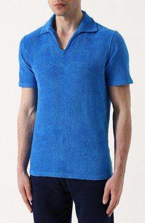 Мужское хлопковое поло с v-образным вырезом ANDREA CAMPAGNA голубого цвета, арт. EUR0/D | Фото 3
