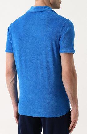 Мужское хлопковое поло с v-образным вырезом ANDREA CAMPAGNA голубого цвета, арт. EUR0/D | Фото 4
