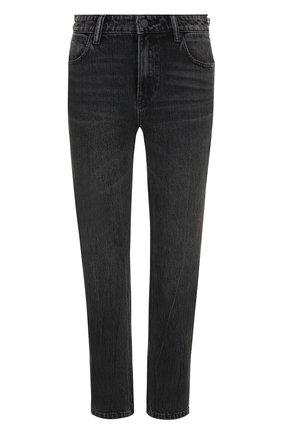 Женские укороченные джинсы прямого кроя с потертостями DENIM X ALEXANDER WANG серого цвета, арт. 4D994191BX | Фото 1