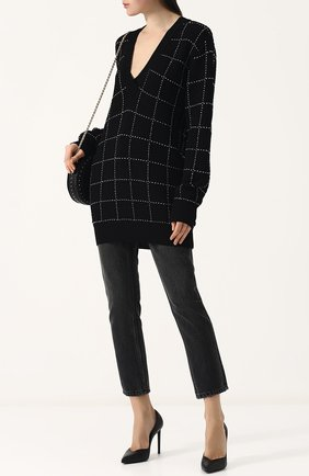 Женские укороченные джинсы прямого кроя с потертостями DENIM X ALEXANDER WANG серого цвета, арт. 4D994191BX | Фото 2