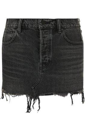 Джинсовая мини-юбка с потертостями | Фото №1