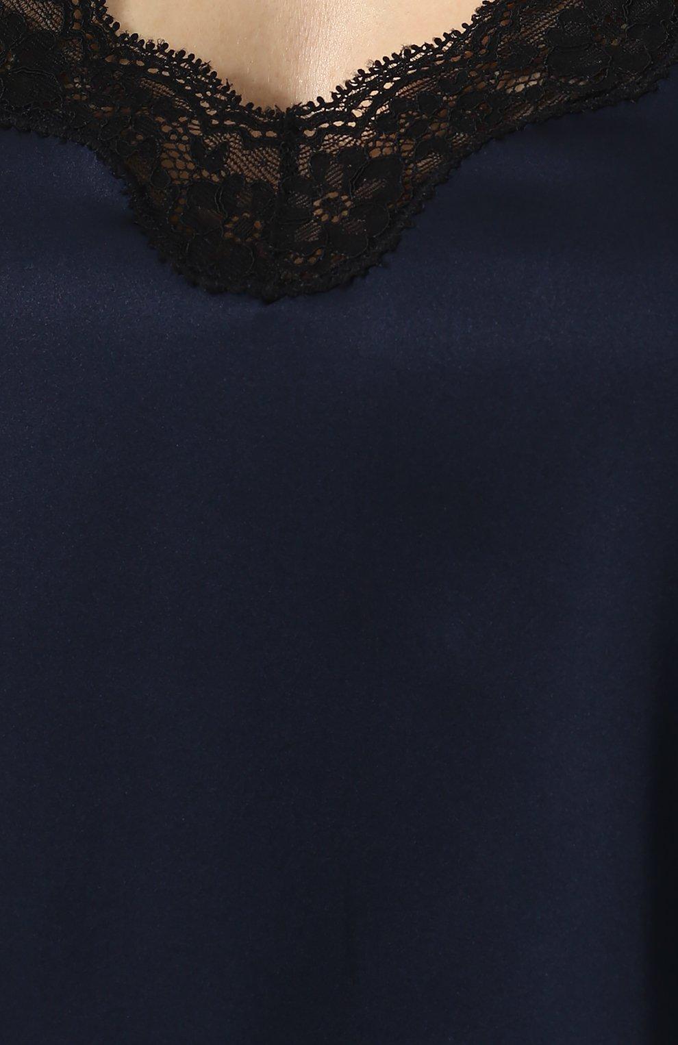 Женская шелковый топ с кружевной отделкой VANNINA VESPERINI синего цвета, арт. VVPE18-40 | Фото 5