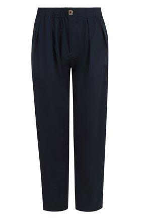 Укороченные хлопковые брюки с эластичным поясом | Фото №1