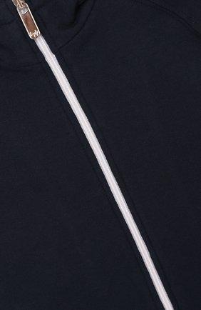 Хлопковый кардиган на молнии с капюшоном и контрастной отделкой | Фото №3