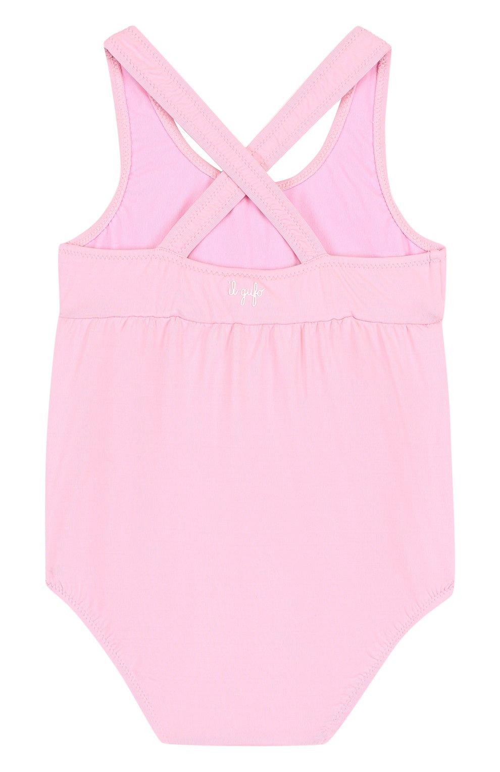 Детского слитный купальник с аппликацией IL GUFO розового цвета, арт. P18CR034EL100/12M-18M | Фото 2