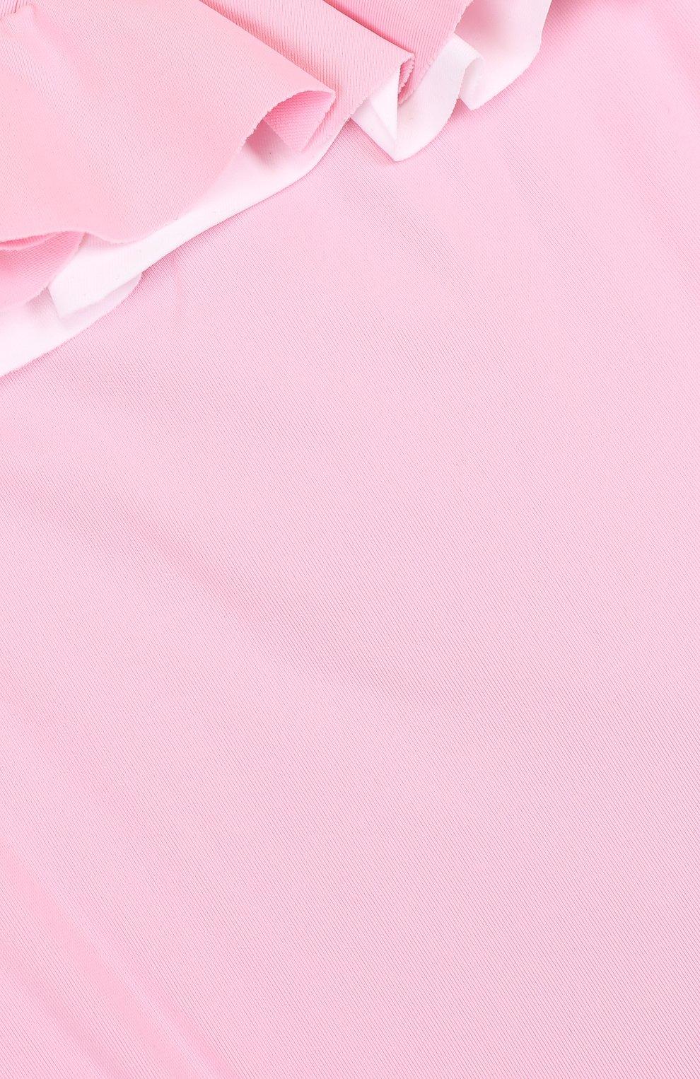 Детского слитный купальник с оборками IL GUFO розового цвета, арт. P18CR035EL100/12M-18M   Фото 3
