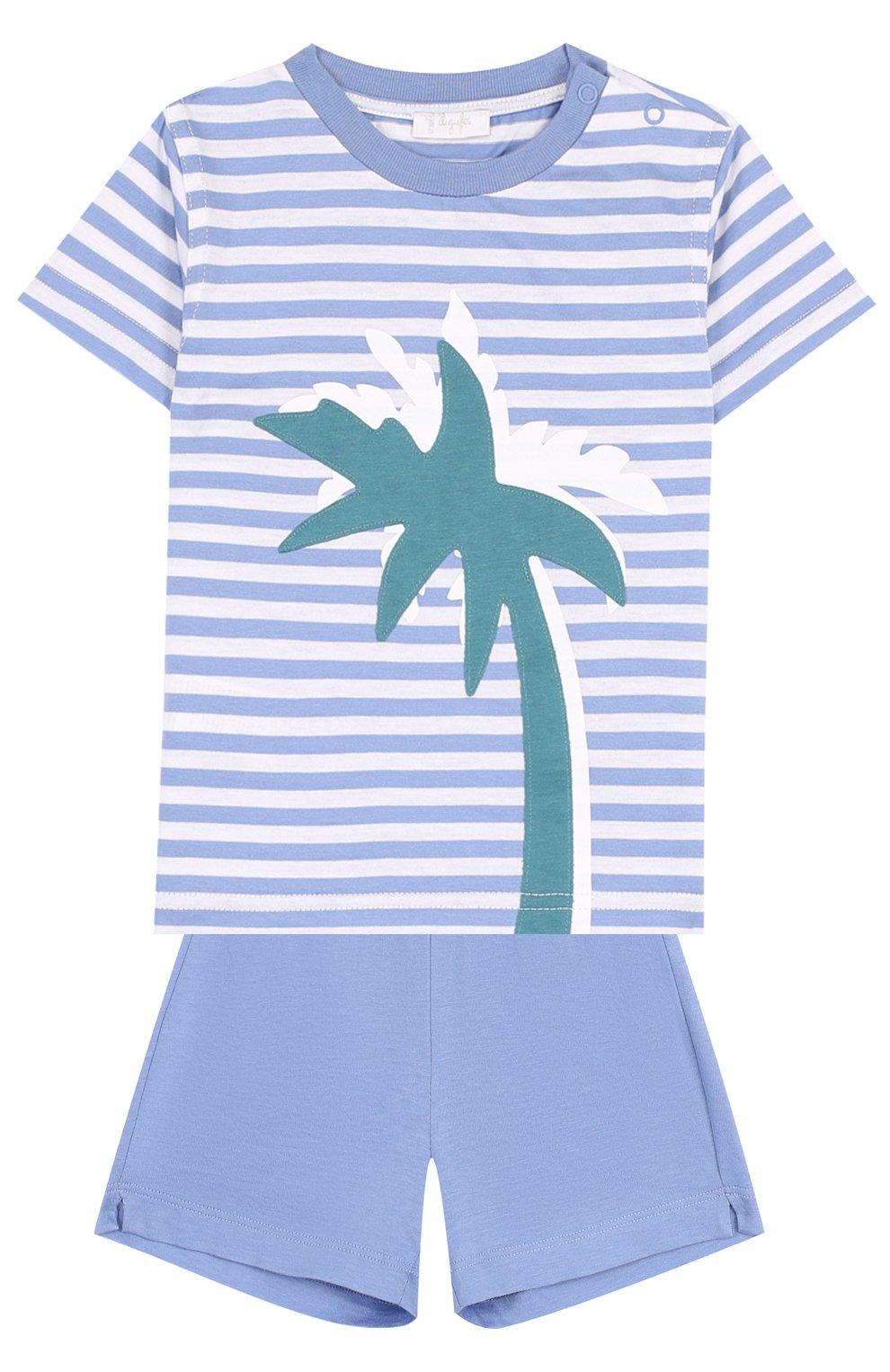 Детский хлопковый комплект из футболки и шорт IL GUFO голубого цвета, арт. P18DP1P2M1067/12M-18M | Фото 1