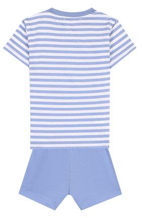 Детский хлопковый комплект из футболки и шорт IL GUFO голубого цвета, арт. P18DP1P2M1067/12M-18M | Фото 2
