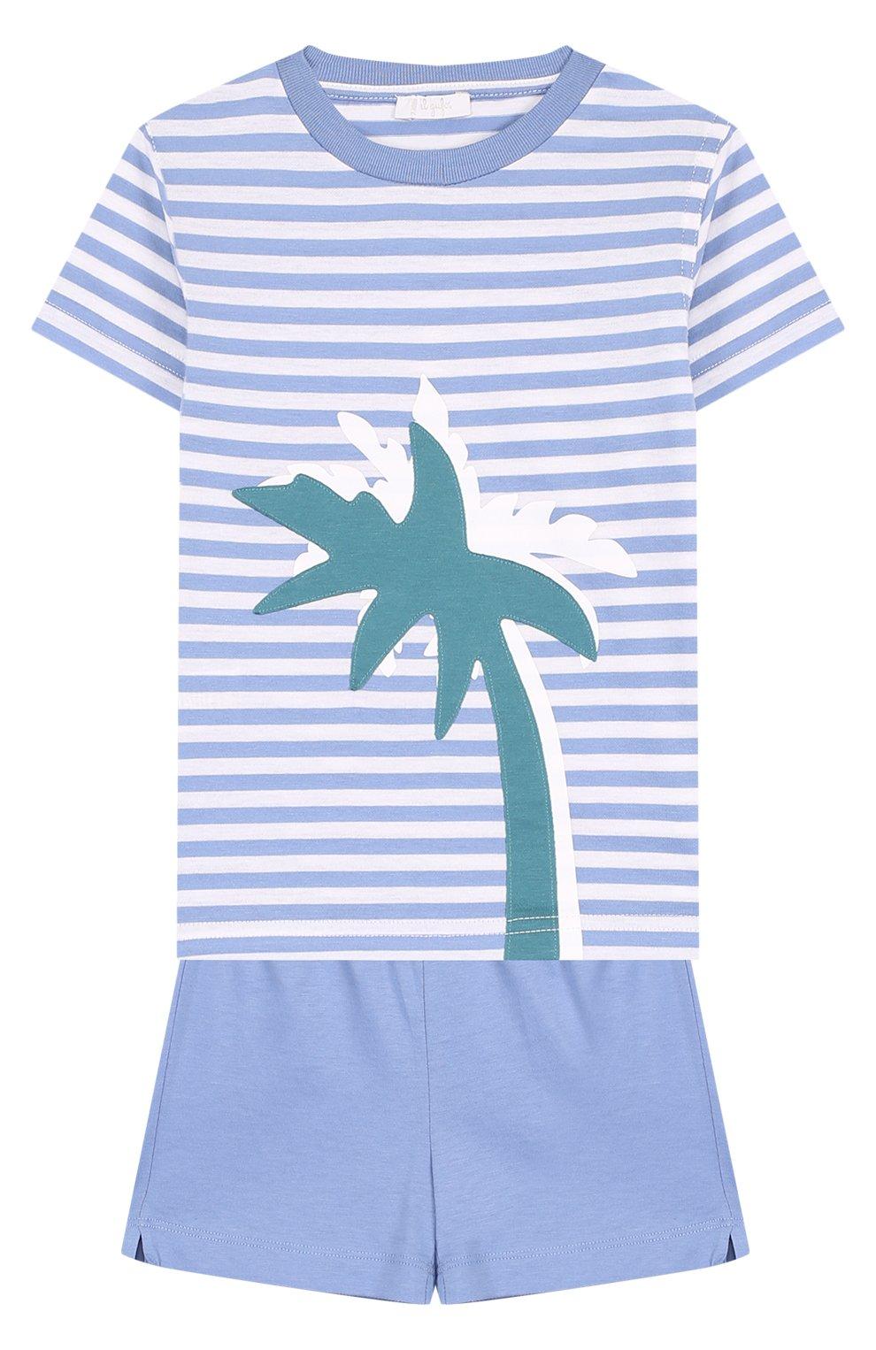 Детский хлопковый комплект из футболки и шорт IL GUFO голубого цвета, арт. P18DP1P2M1067/2A   Фото 1
