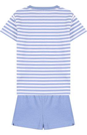 Детский хлопковый комплект из футболки и шорт IL GUFO голубого цвета, арт. P18DP1P2M1067/2A   Фото 2