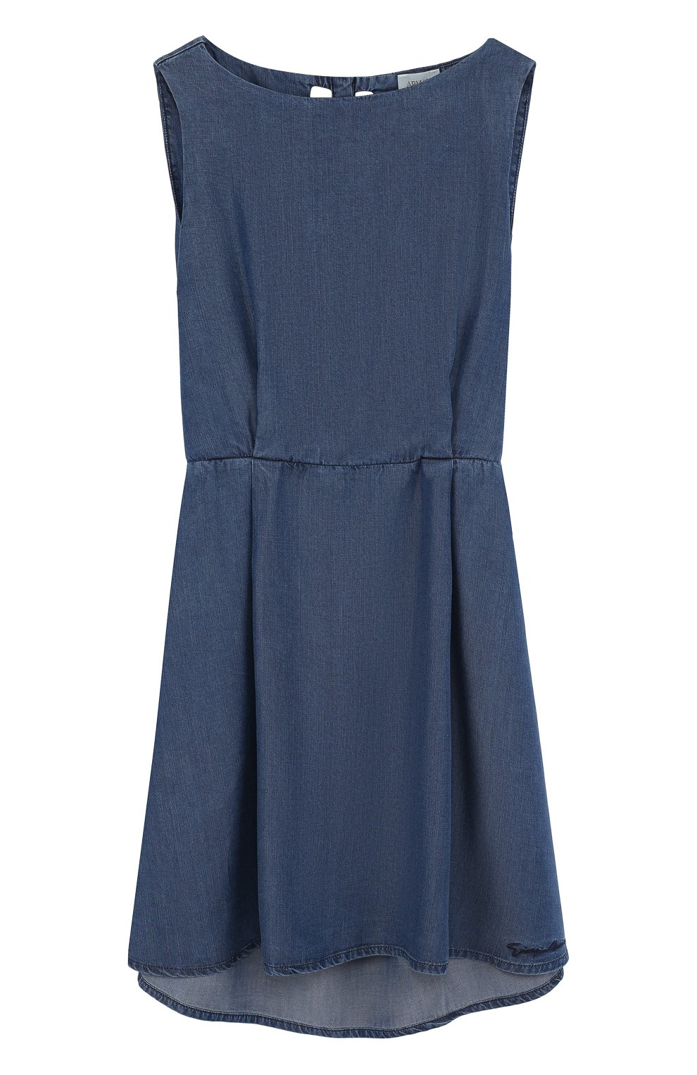 Детское мини-платье с эластичной вставкой на поясе и декоративной отделкой на спине ARMANI JUNIOR синего цвета, арт. 3Z3A90/3D0NZ/11A-16A | Фото 1
