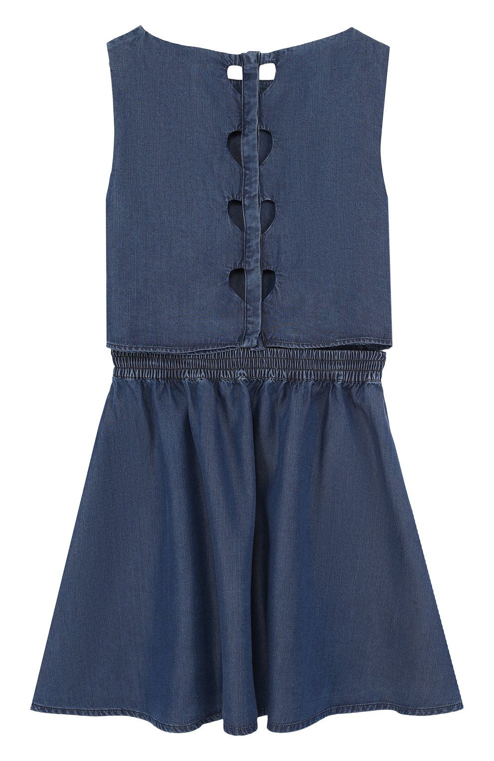 Детское мини-платье с эластичной вставкой на поясе и декоративной отделкой на спине ARMANI JUNIOR синего цвета, арт. 3Z3A90/3D0NZ/11A-16A | Фото 2