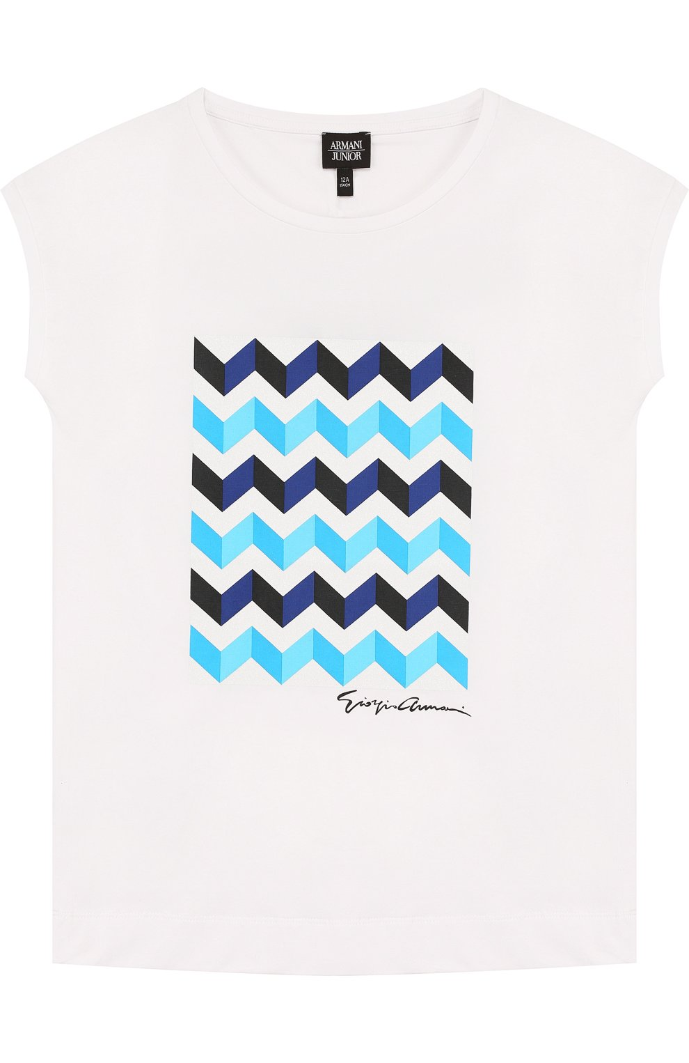 Детская хлопковая футболка с принтом ARMANI JUNIOR белого цвета, арт. 3Z3M02/3JFBZ/11A-16A | Фото 1