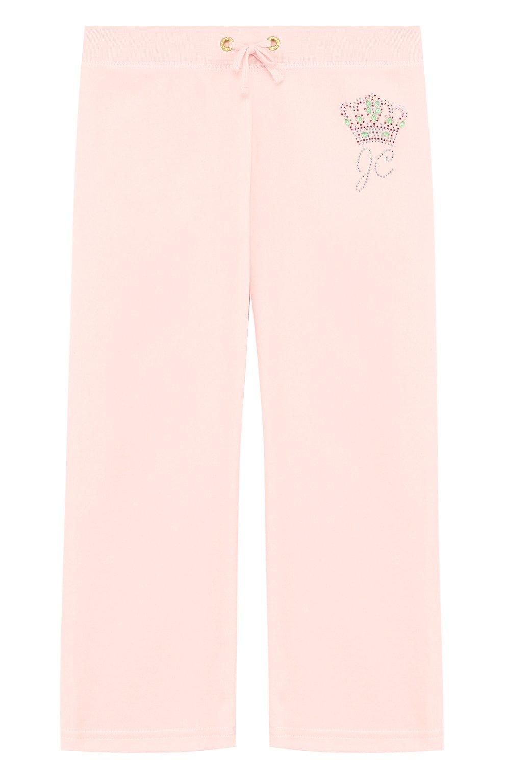 Детские спортивные брюки прямого кроя с поясом на кулиске JUICY COUTURE розового цвета, арт. GTKB115685 | Фото 1