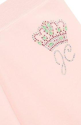 Детские спортивные брюки прямого кроя с поясом на кулиске JUICY COUTURE розового цвета, арт. GTKB115685 | Фото 3