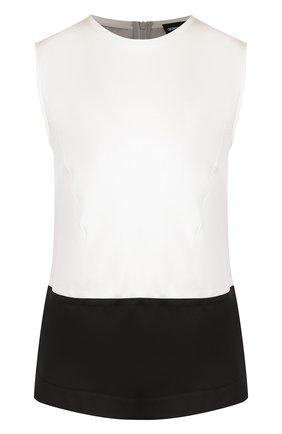 Женский шелковый топ свободного кроя с круглым вырезом GIORGIO ARMANI черно-белого цвета, арт. WAC09T/WA35C | Фото 1