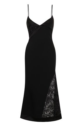Приталенное платье-комбинация с кружевной вставкой   Фото №1