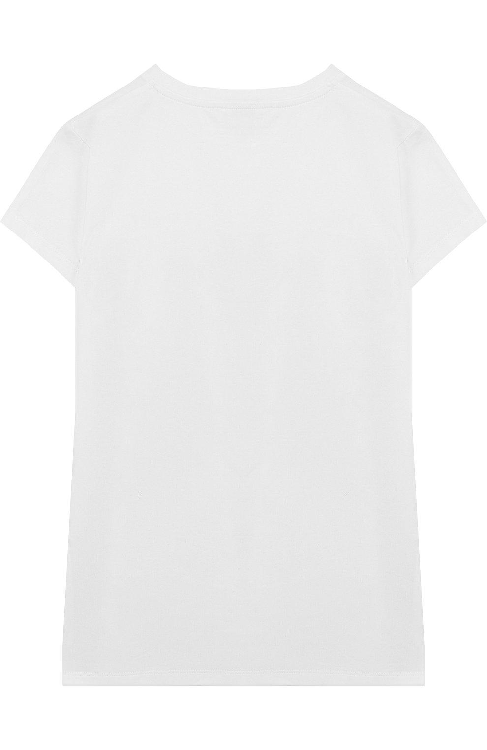 Детская хлопковая футболка с контрастной вставкой MONCLER ENFANT белого цвета, арт. D1-954-80671-05-8790A/4-6A | Фото 2