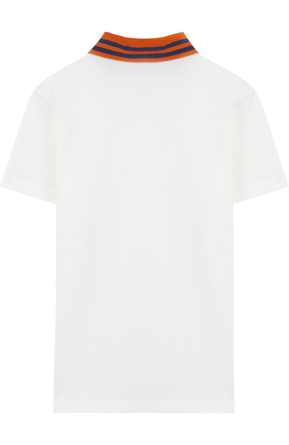 Детское хлопковое поло с нашивкой MONCLER ENFANT белого цвета, арт. D1-954-83092-05-84509/12-14A | Фото 2