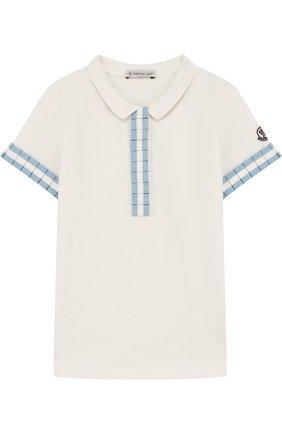 Детское хлопковое поло с контрастной отделкой MONCLER ENFANT белого цвета, арт. D1-954-83546-05-8496F/12-14A | Фото 1