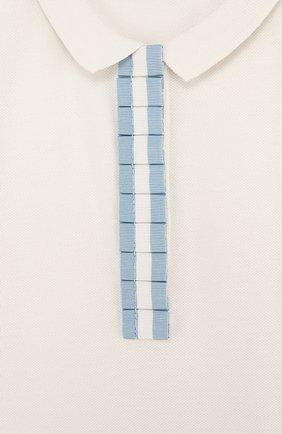 Детское хлопковое поло с контрастной отделкой MONCLER ENFANT белого цвета, арт. D1-954-83546-05-8496F/12-14A | Фото 3