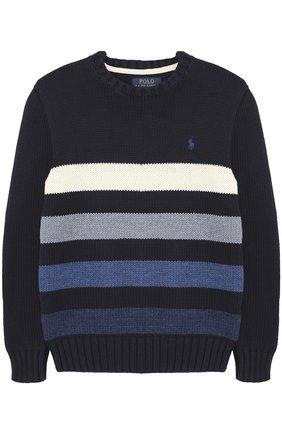 Хлопковый пуловер в полоску | Фото №1
