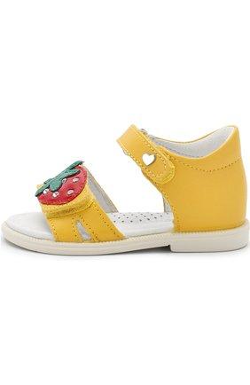 Кожаные сандалии с застежками велькро и аппликацией   Фото №2