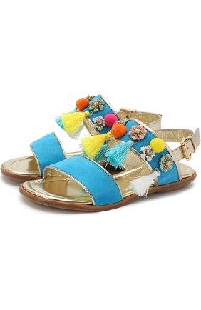 Замшевые сандалии на ремешке с кисточками и декором   Фото №1