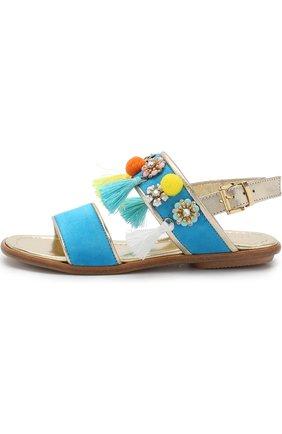 Замшевые сандалии на ремешке с кисточками и декором   Фото №2