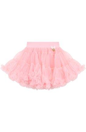Многослойная мини-юбка свободного кроя с оборкой | Фото №1