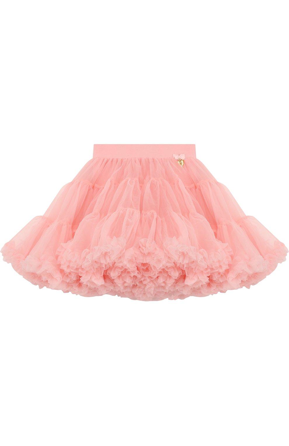 Многослойная мини-юбка свободного кроя с оборкой   Фото №1