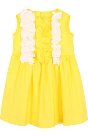 Хлопковое платье с поясом и оборками | Фото №1