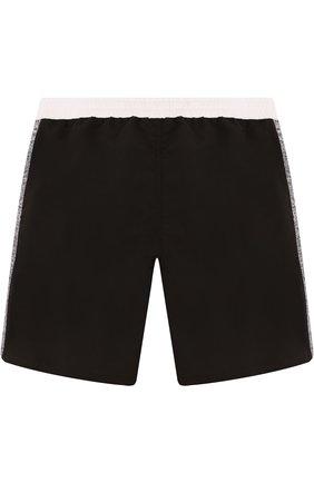 Детские шорты с поясом на кулиске Karl Lagerfeld Kids черного цвета | Фото №1
