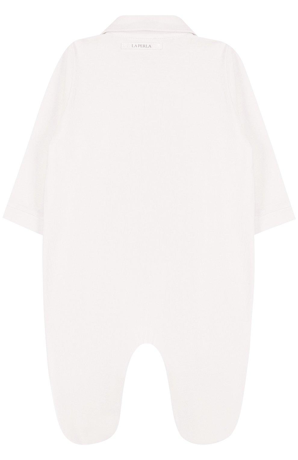 Детский хлопковый комбинезон с кружевной отделкой LA PERLA бежевого цвета, арт. 50043 | Фото 2