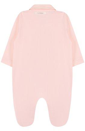 Детский хлопковый комбинезон с кружевной отделкой LA PERLA розового цвета, арт. 50043 | Фото 2