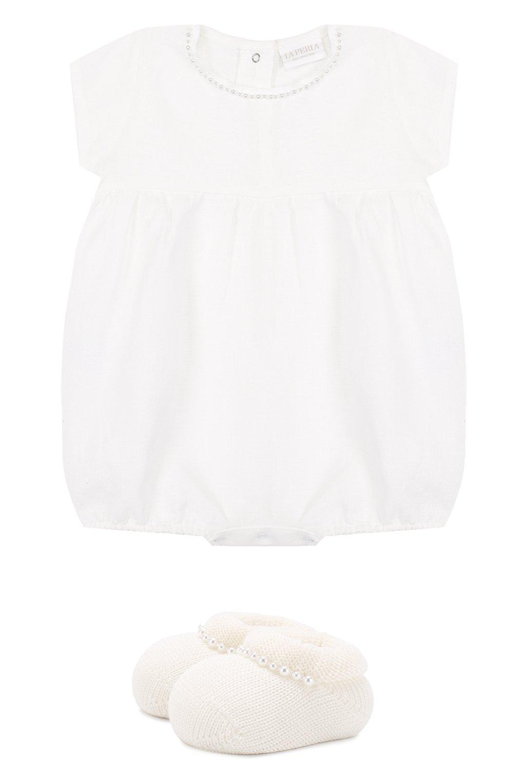 Детское льняной комплект из боди с пинетками LA PERLA белого цвета, арт. 48557   Фото 1