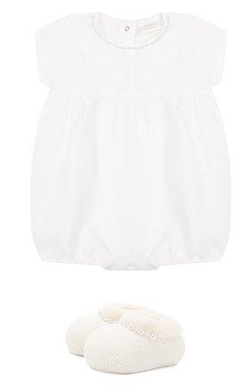 Детское льняной комплект из боди с пинетками LA PERLA белого цвета, арт. 48557 | Фото 1